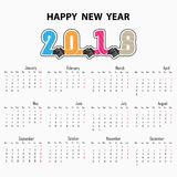 Handdrukteken en Gelukkige Nieuwjaar 2018 achtergrond Kleurrijk begroet Stock Foto