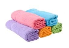 Handduk badlakan på bakgrund. Arkivfoto