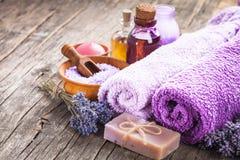 handduk för brunnsort för murgrönalavendeltvål Fotografering för Bildbyråer