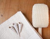 handduk för dusch för badlyx set Royaltyfria Bilder