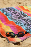 handduk för 2 goggles Arkivfoto