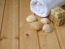 Handduk, tvål och skal Arkivfoton