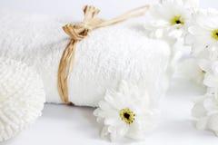 Handduken och snyltar brunnsortbadbegrepp Fotografering för Bildbyråer