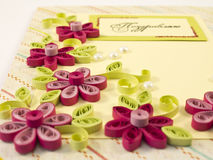 Hande-made post card. With quilling multicolored flowers from paper Royalty Free Stock Photos