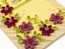 Hande-made post card. With quilling multicolored flowers from paper Stock Photo