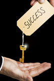 Handed key to success. A labelled key to success being handed to business person Royalty Free Stock Image