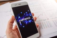 Handel auf dem Geldumtausch, Konzept Berichte und Statistiken, Fl?chtigkeit der W?hrung stockfoto