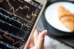 Handel auf der Tablette mit der Geschäftsfrauhand und -hörnchen on-line machen stockbilder