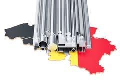 Handel av metallprodukter i Belgien, begrepp framförande 3d vektor illustrationer