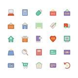 Handel Barwione Wektorowe ikony 1 Fotografia Royalty Free