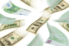 Handel drijvende eurodollar. Royalty-vrije Stock Afbeeldingen