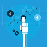 Handel drijvende robothand Stock Illustratie