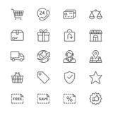 Handel elektroniczny cienkie ikony royalty ilustracja