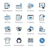 Handel elektroniczny ikony Ustawiają 3 - Błękitne serie Obrazy Stock