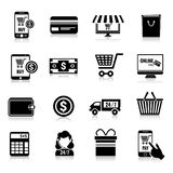 Handel elektroniczny ikony ustawiają czerń Zdjęcie Royalty Free