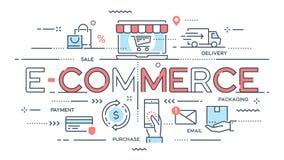Handel elektroniczny, online zakupy, handel detaliczny, sprzedaż, doręczeniowa usługa cienka ilustracji