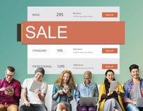handel elektroniczny sprzedaży ceny rabata transakci Gorący pojęcie obrazy stock