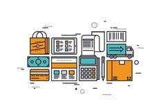 Handel elektroniczny usługa kreskowego stylu ilustracja ilustracji