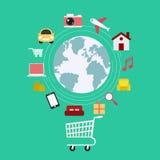 handel elektroniczny Ustawia ikona online zakupy Obrazy Royalty Free