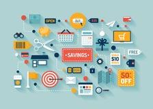 Handel en besparingen vlakke illustratie Stock Foto's