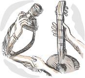 handel för swap för barterkameragitarr royaltyfri illustrationer
