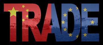 Handel met de vlaggen van Chinees en van de EU Royalty-vrije Stock Fotografie