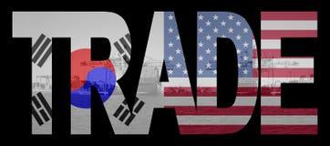 Handel met Zuidkoreaanse en Amerikaanse vlaggen Stock Fotografie