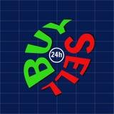 Handel op de beurs Verkoop en koop tekst embleem Stock Foto's
