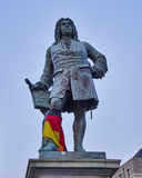 Handel's statue, central market place of Halle an der Saale Stock Image