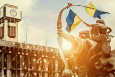 Handel - unioner som bygger efter brand med monumentet Royaltyfri Bild