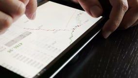 Handelaar die tablet voor het controleren van voorraadgegevens gebruiken stock footage