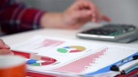 Handelaar Woman Calculates Earnings stock videobeelden