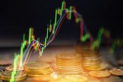 Handelforex gouden muntstukinvestering - de bedrijfsgrafiekgrafieken van financiële raad tonen voorraadtoekomst stock fotografie