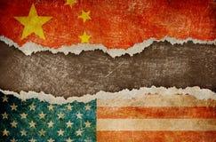 Handelkrig mellan USA och det Kina begreppet Arkivbild