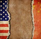 Handelkrig mellan USA och det Kina begreppet Royaltyfri Fotografi