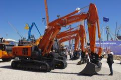 Handelmässa för byggande maskiner Arkivbild