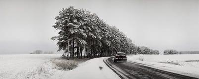 Handeln Sie auf der Straße in den ungünstigen Wetterbedingungen im Winter Stockbilder