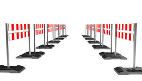 Handeln Sie Bausymbol, mobile Barrikade auf Weiß Lizenzfreie Stockfotos