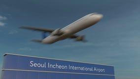 Handels- Flugzeug, das an der internationalen Begriffs-Animation 4K Flughafens 3D Seouls Incheon sich entfernt stock abbildung