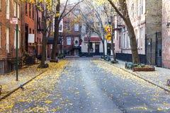 Handels-Straße in der historischen Greenwich- Villagenachbarschaft O Stockbilder