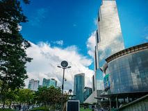 Handels-Turm WTC Seoul und Versammlungs-u. Ausstellungs-Mitte Coex an Stockfotografie