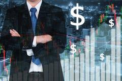 Handelsbörse stellen grafisch dar und halten auf Stadt nachts ab Geschäfts-FI Stockfoto