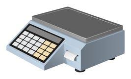 Handelschalen van zelfbediening met een aanrakingspaneel die een sticker met een prijskaartje voor de goederen verspreiden Royalty-vrije Stock Afbeeldingen