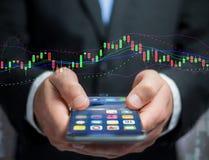 Handelsdevisendateninformationen angezeigt auf einer Börse int lizenzfreie stockbilder