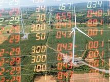 Handelsdiagramm auf Windkraftanlagestromgenerator, Geschäft financia Stockbilder