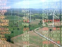Handelsdiagramm auf Windkraftanlagestromgenerator, Geschäft financia Lizenzfreies Stockfoto