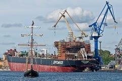 Handelsfartyg som byggs i Ryssland Arkivbilder