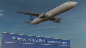 Handelsflugzeug, das an Wiedergabe Minneapolis-St. Paul International Airport Editorial 3D sich entfernt Stockfoto