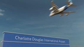 Handelsflugzeuglandung an Wiedergabe Charlotte Douglas International Airports 3D lizenzfreie stockfotografie