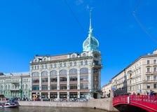 Handelshaus Esders und Scheefhals, Damm von Moika-Fluss, St Petersburg, Russland Stockfotografie